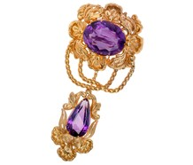 Glorious Georgian Amethyst Brooch Pendant