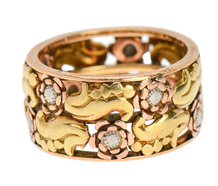 Retro Three Color Gold Wedding Band