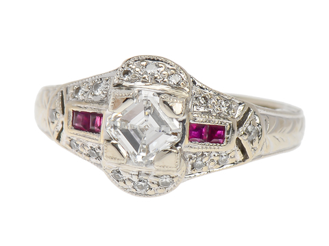 Vintage Asscher Diamond Ruby Ring