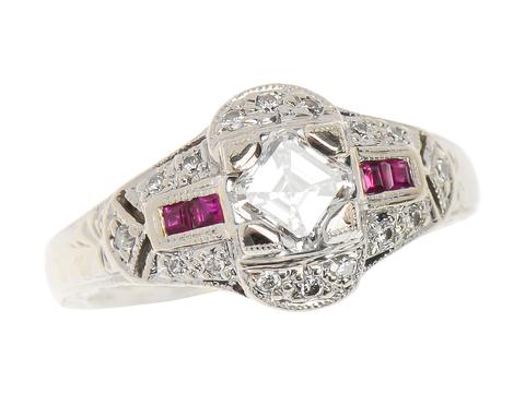Vintage Asscher Diamond Ruby Ring