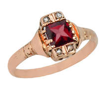 Sweeter Than Wine Vintage Garnet Ring