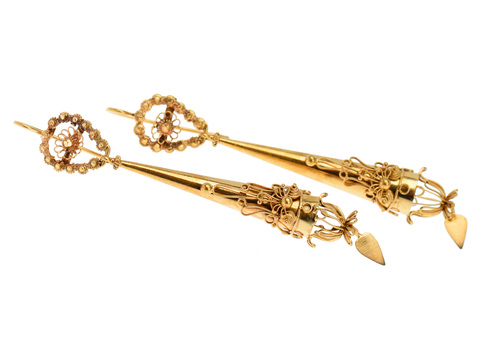 Exquisite Georgian Cannitille Torpedo Earrings