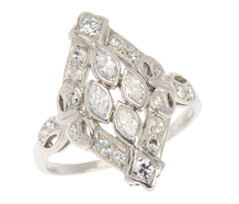 Dramatic Art Deco Marquise Diamond Ring