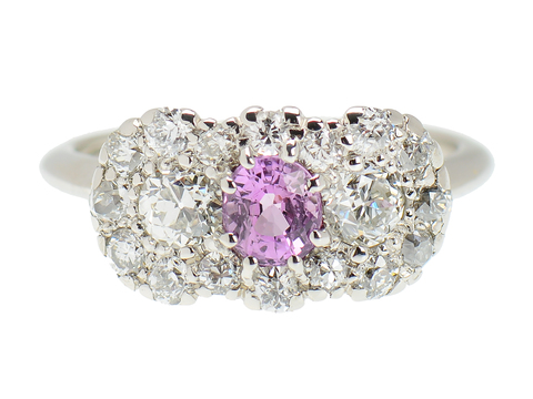 Art Deco Pink Sapphire Engagement Ring