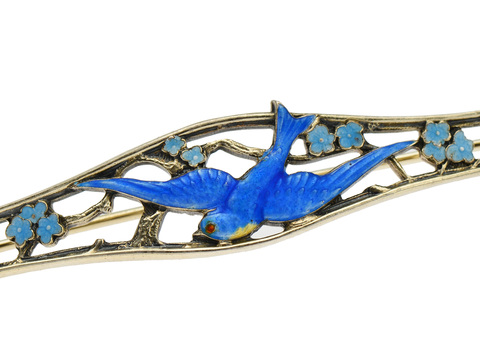 Edwardian Blue Bird of Happiness Brooch