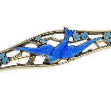 Edwardian Blue Bird of Happiness Brooch