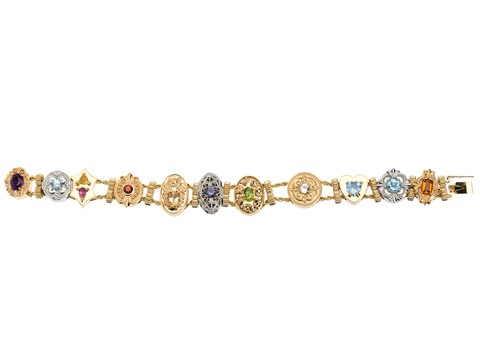 Solid Gold Estate Slide Bracelet with Gemstones