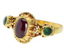 Spanish Flair - 18th Century Garnet Emerald Ring