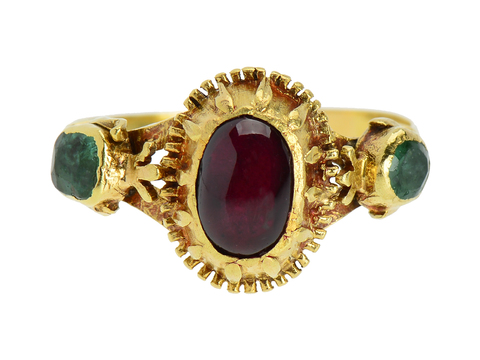 Spanish Flair - 18th Century Garnet Emerald Ring