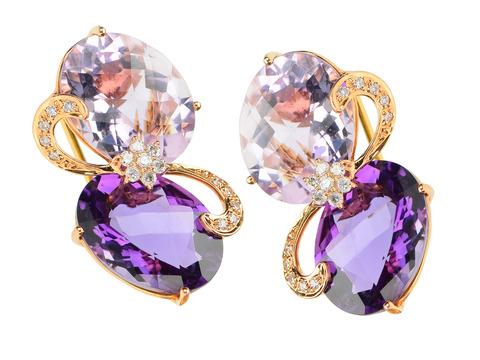 Estate Dramatic Amethyst Rose Quartz Earrings