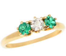 Antique Three Stone Emerald Diamond Ring