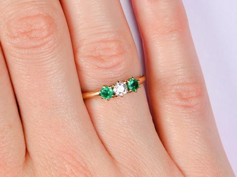 Antique Three Stone Emerald Diamond Ring