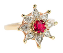 Vintage Red Ruby Diamond Star Ring