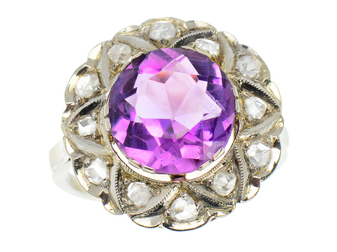 Amethyst Vintage Rose Cut Diamond Ring