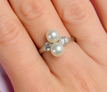 Art Deco Elegant Natural Saltwater Pearl Ring