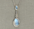 Vintage Blue Moonstone Diamond Necklace