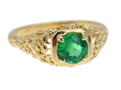 Filigree Finesse - Emerald Gold Ring