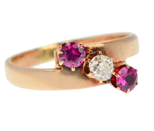 Antique Ruby Diamond Three Stone Ring