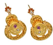 Victorian Gold Ruby Diamond Earrings