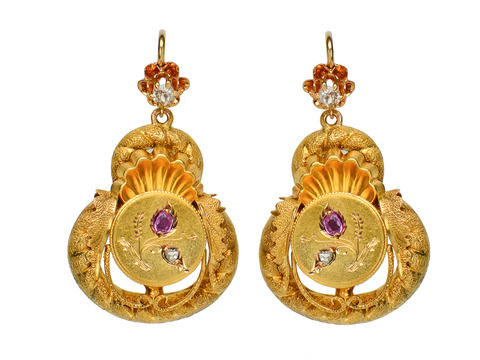 Victorian Gold Ruby Diamond Earrings