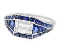 Art Deco Style Diamond Sapphire Ring