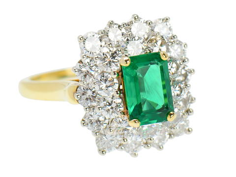 Vintage Fine Emerald & Diamond Halo Ring