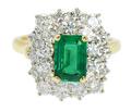 Vintage Fine Emerald & Diamond Halo Ring