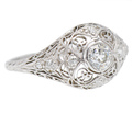 Antique Diamond Filigree Platinum Ring