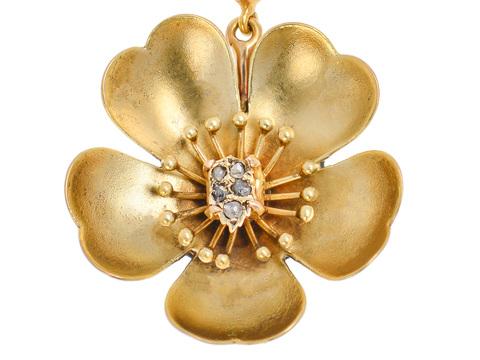 Petal Pleasing - Flower Diamond Gold Pendant