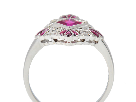 Scalloped Double Diamond Ruby Ring