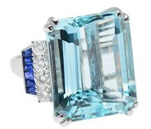 Caribbean Depths - Aquamarine Diamond Ring