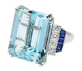 Caribbean Depths - Aquamarine Diamond Ring