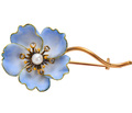 French Art Nouveau Blue Flower Brooch