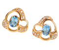 Modernist Flair - Aquamarine Diamond Earrings