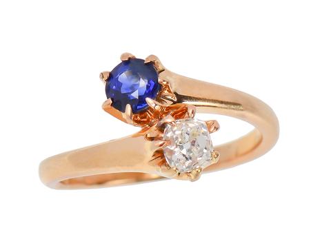 Antique Me & You Sapphire Diamond Ring