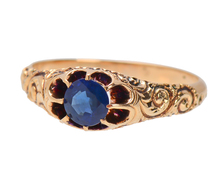 Sapphire Victorian Ring of Rose Gold