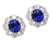 Electrifying No Heat Sapphire Diamond Earrings