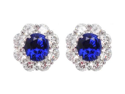 Electrifying No Heat Sapphire Diamond Earrings