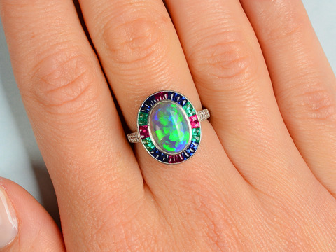 Color Cascade - Opal Gem Set Ring