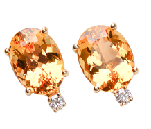 Estate Topaz & Diamond Stud Earrings