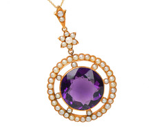 Edwardian Antique Amethyst Pearl Pendant