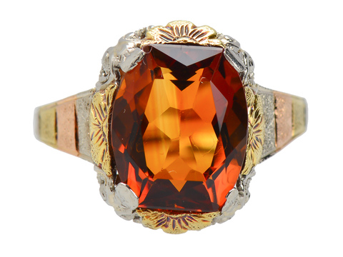 Vintage Three Color Gold Citrine Ring