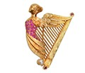 Winged Nike Ruby Harp Brooch Pendant