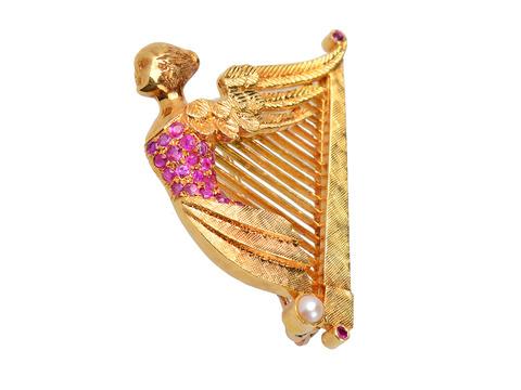 Winged Nike Ruby Harp Brooch Pendant