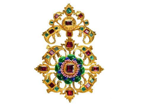 Georgian Grandeur - Emerald Garnet Pendant