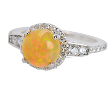 Estate Opal Diamond Halo Ring