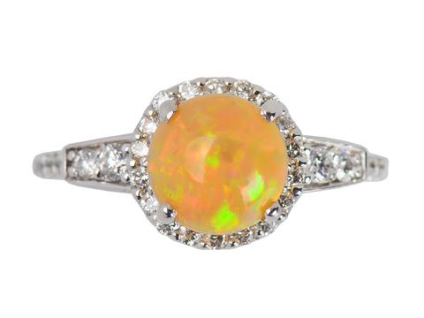 Estate Opal Diamond Halo Ring