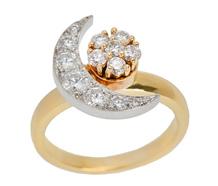 Signed Teufel Moon Star Diamond Motion Ring