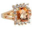 Imperial Topaz Diamond Halo Ring