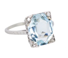 Vintage Variation - Art Deco Aquamarine Ring